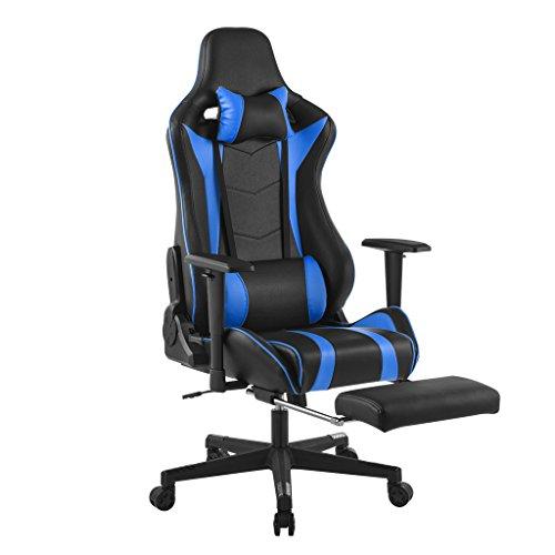 LANGRIA Gaming Stuhl Racing Gaming Chair mit Fußstützen Kunstleder Chefsessel Schreibtischstuhl mit Wippfunktion, Höhenverstellbar (Schwarz und Blau)