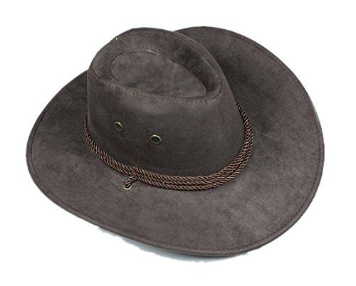 Brown Jungen Cowboy Kostüme (Braun Seil Western Cowboy Hat Unisex Kostüm für Kind Erwachsene Halloween Party Gr. Large,)