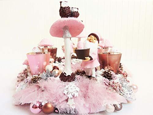 Adventskranz WINTERMÄRCHEN Shabby Chic Deko Advent Weihnachtdeko Weihnachtskranz Weiß Rosa...