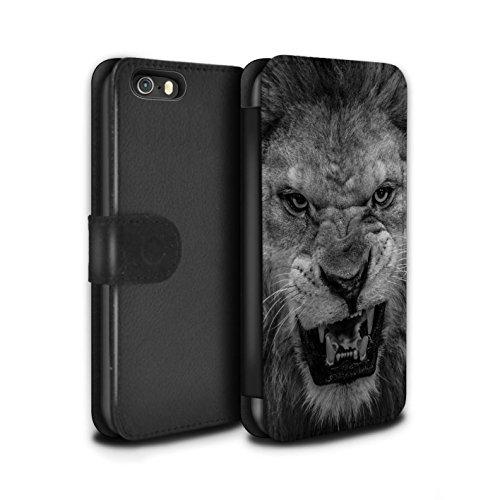 STUFF4 PU-Leder Hülle/Case/Tasche/Cover für Apple iPhone SE / Elefant Muster / Zoo-Tiere Kollektion Löwe