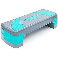 #DoYourFitness® Aerobic Steppbrett| Stepper - höhenverstellbar (3 Stufen : 10cm 15cm 20cm) - Maße 78x30cm - Fitness | Body Step Cela grau/türkis
