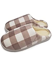 Vritraz Unisex Comfort Slip On Closed Toe Indoor Clog House Slipper Check