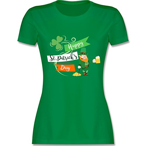 St. Patricks Day - Happy St. Patricks Day Kobold - M - Grün - L191 - Damen T-Shirt Rundhals (Patricks Shirt St Grün Day)