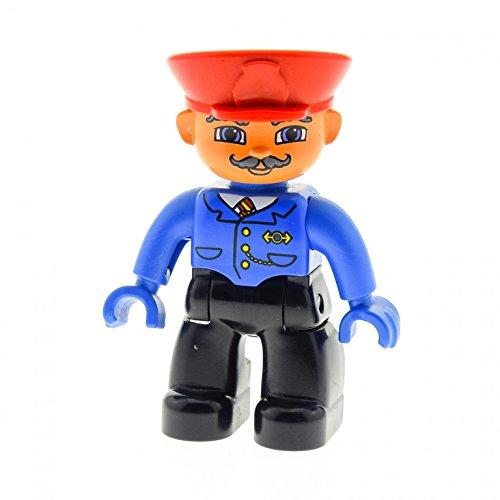 1 x Lego Duplo Figur Mann Hose schwarz Jacke blau Schnurrbart Mütze Hut rot Uniform Hände blau Lokführer Schaffner Zug Eisenbahn (Schaffner Hut)
