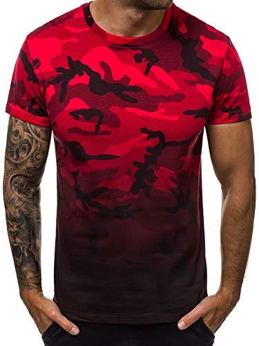 OZONEE Herren T-Shirt Aufnäher Kurzarm Camouflage Rundhals Figurbetont 777/2511T ROT XL