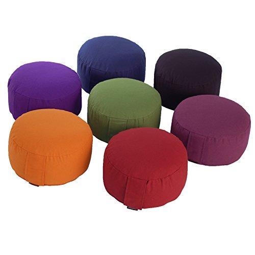 Meditationskissen RONDO BASIC (Dinkel), mit abnehmbarem Bezug (olive-grün), bequemes, klassisches Sitzkissen für die…