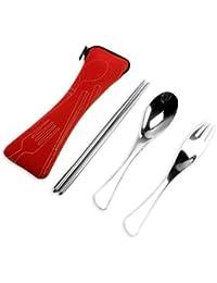 TININNA Portable Cubiertos conjunto de palillos Tenedor Cuchara de acero inoxidable de Almuerzo Viajes Picnic Acampar
