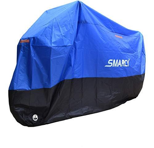 SMARCY® Motorradabdeckplane Motorradgarage Motorradabdeckung Wasserdicht Staubdicht Blau Schwarz XXL