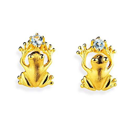 Drachenfels kleine Frosch Ohrstecker mit Topas in Echtsilber | Kollektion Froschkönig | Mittlere Frosch-Ohrringe aus 925 Sterlingsilber für Damen, goldplattiert