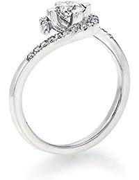18K Gold / White Round Cut Diamond Simulated Swarovski Pure Brilliance Zirconia Engagement Ring (0.44 cttw)