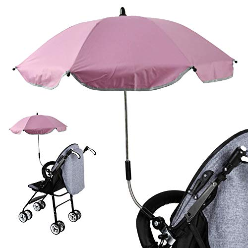 Universal Cochecito Pantalla Curvada sombrilla Paraguas Toldo de diámetro, 65cm protección UV 50+ 57cm | para Cochecito bebé Carro & Buggy Accesorios Rosa