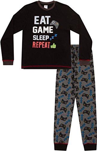 """Pyjama garçon """"Eat Sleep Game Repeat"""" avec motif manettes de jeux 8à 15ans - Noir - 11 ans"""