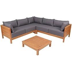 greemotion 128640 Lounge Set GOA-Loungemöbel aus Akazien Holz-Garnitur 3 teilig für Garten & Terrasse-Outdoor Loungeset braun & grau mit Eckbank & Tisch-Hocker, 22,6 x 22,6 x 6,4 cm