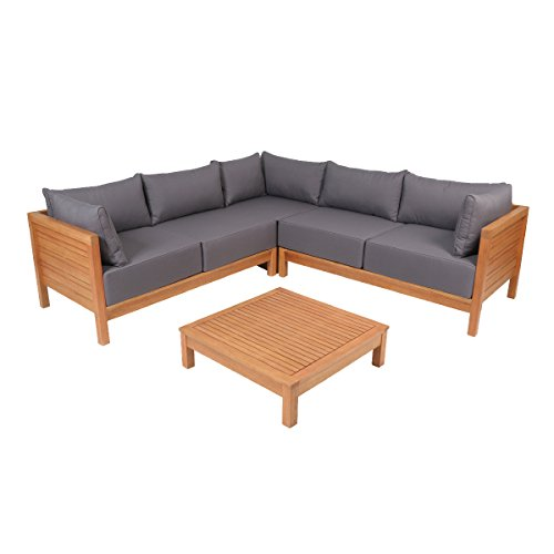 greemotion 128640 Lounge Set GOA-Loungemöbel aus Akazien Holz-Garnitur 3 teilig für Garten & Terrasse-Outdoor Loungeset braun & grau mit Eckbank & Tisch-Hocker, Braun, 22,6 x 22,6 x 6,4 cm