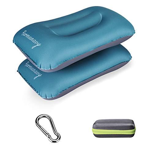 Bermunavy cuscini da campeggio, cuscino da viaggio - cuscino gonfiabile da campeggio impermeabile leggero portatile compatto (blu 2 pezzi)