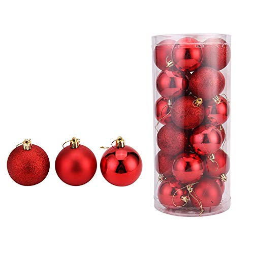 umschmuck, Mehrfarbig, 4 cm, Kunststoff, Geschenkkugel, Weihnachtsdekoration, 24 Stück rot ()