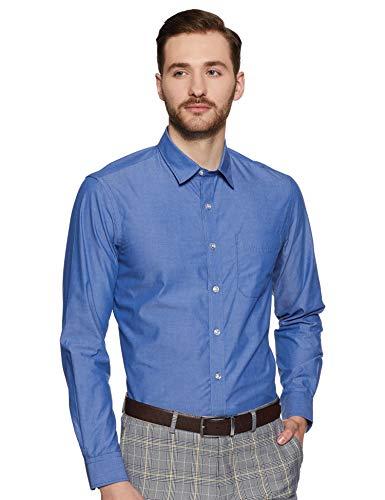 Bradstreet by Arrow Men's Plain Slim Fit Formal Shirt (BSXSH0095A_Blue_42)