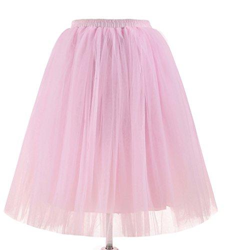 FNKSCRAFT® 5 Schicht Knielang Spout Petticoat kleid 50er jahre unterröcke kurz damen halloween kostüm damen (pd-6655-#41) (50er Jahre Halloween Kostüme)