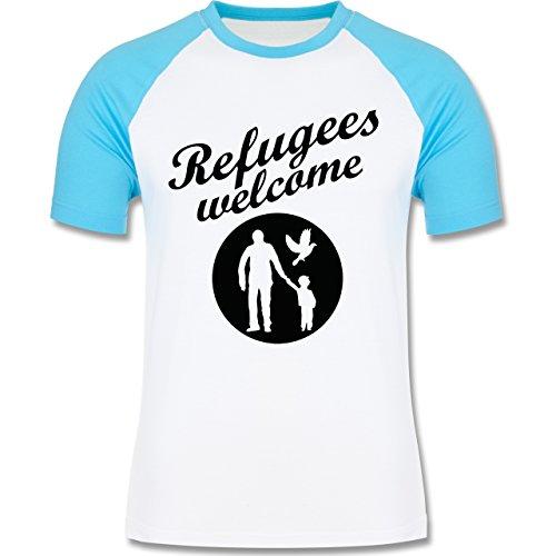 Statement Shirts - Refugees welcome - zweifarbiges Baseballshirt für Männer Weiß/Türkis