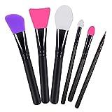 Alinice Silikon Gesichtsmaske Pinsel, Gesichtspflege Makeup Tools und Body Butter Applikator Tools Packung mit 6