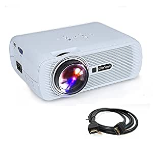 """Crenova,Mini Projector XPE460 Full Color Home Video Projector, 130"""" Portable LED Pico Projector with HDMI for Home Theater Support 1080P HD Game USB SD iPad iPhone Android Smartphone - White"""