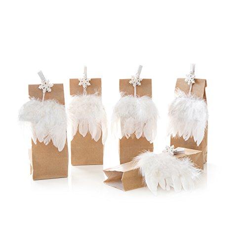 5 braune Weihnachtstüten mit Engels-Feder-Flügel und Holzklammer