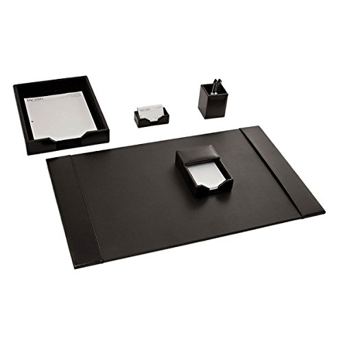 Dacasso Bonded Schreibtisch-Set, schwarz, 5-teilig (Florida-schreibtisch-kalender)