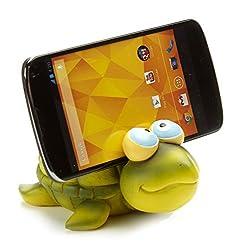 By-Bers Handy Halter Handyhalter Ständer Schildkröte Tier grün handbemalt, lustig, für Kinder und junggebliebene Erwachsene