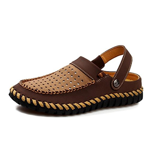 Men's Breathable Leisure Leather Outdoor Hollow Sandals brown