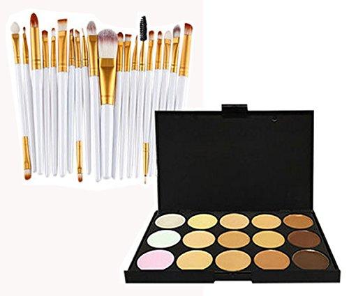 Glamza 20PC Blanc œil et 15PC Contour Palette Eye Lot de brosse de maquillage