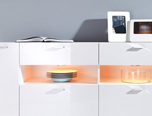 Sideboard Imko 173x83x40cm weiß Hochglanz LED-Beleuchtung Anrichte Kommode Schubkastenschrank Schubkastenkommode Wohnzimmerschrank - 2