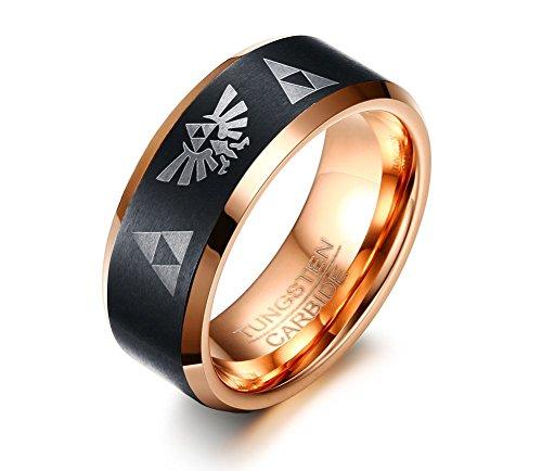 Vnox 8mm Hartmetall die Legende von Zelda Triforce Ring Hochzeit Engagement Band für Männer,Black Rose Gold (Niedliche Hip Hop Kostüme)