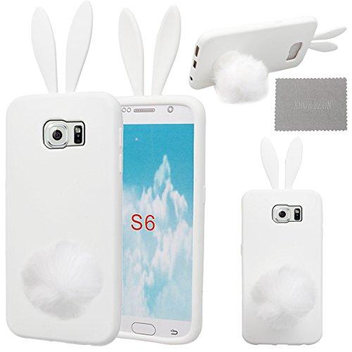 xhorizon® Bunny Weiß Hase Flaum Schwanz + Weiß Silikon Weich Hülle Case für Samsung Galaxy S6 (Ohren Weißen Bunny)