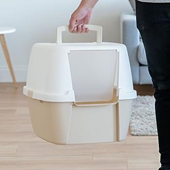 Iris Ohyama Litière/Maison de Toilette pour Chat avec Pelle Ouverture Frontale Plastique Beige/Blanc 53,3 x 45,7 x 43,1 cm
