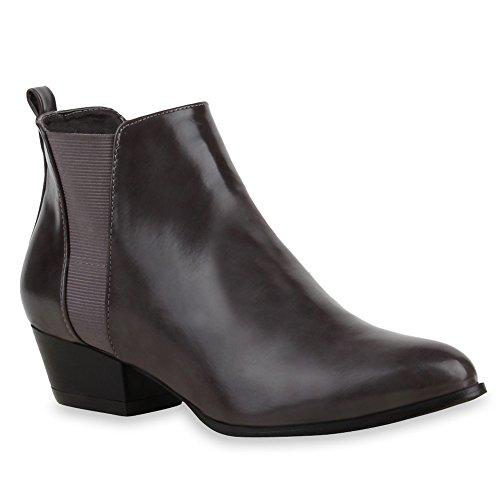 Spitze Damen Chelsea Boots Stiefeletten Cowboy Stiefel Lack Grau