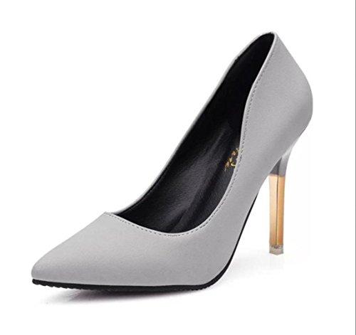 Da donna-Tacchi-Ufficio e lavoro Casual-Comoda-A stiletto-PU (Poliuretano)-Nero Rosa Bianco gray