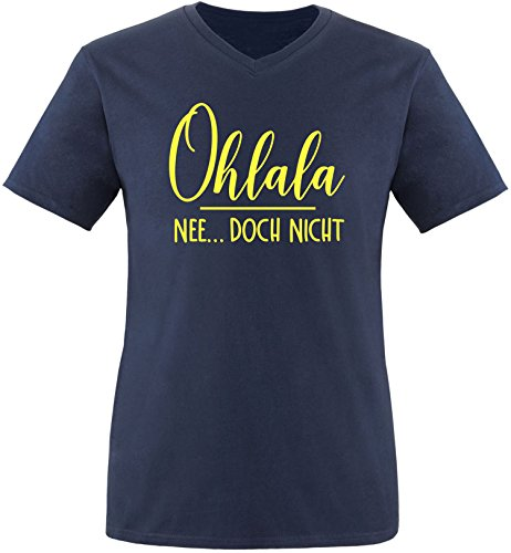 EZYshirt® Ohlala - Nee...doch nicht Herren V-Neck T-Shirt Navy/Gelb