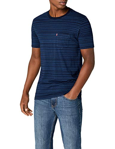 Levi's Herren T-Shirt SS Set-in Sunset Pocket, Blau (Minor Stripe Medium + Dark Indigo 0023), Large
