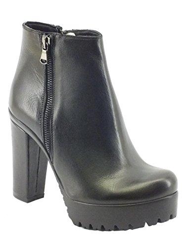 Tronchetti Mercante di Fiori per donna in pelle nera con tacco e plateau alto (Taglia 40)