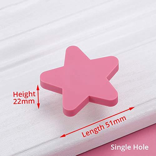 OLDK Kinderzimmer Knöpfe und Griffe Moon Star Cartoon Möbelgriffe PVC Cloud Türknauf Kinder Schubladenschrank Zieht für Kinder, Star Pink -