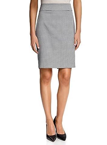 oodji Collection Women's Straight Jacquard Skirt, Grey, UK 8 /