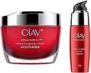 Olay Day Cream Regenerist Microsculpting Moisturiser (NON SPF), 50g And Olay Serum Regenerist Microsculpting