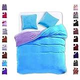 200x220 cm Bettwäsche mit 2 Kissenbezügen 80x80 Mikrofaser Weich Warm Winter Kuschelig Bettbezug Bettwäschegarnitur hellblau light blue violett Furry