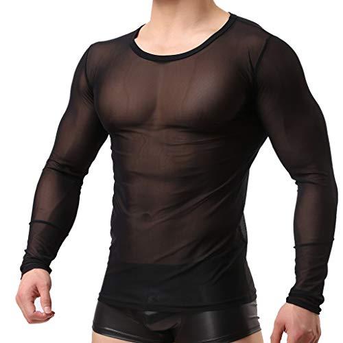 WHSHINE Herren Langarm Hemd Unterhemd Shirt Sexy Slim fit T-Shirt Rundhals Einfarbig Tee transparent Dessous Reizwäsche sexy Oberteile Mesh Clubwear Top