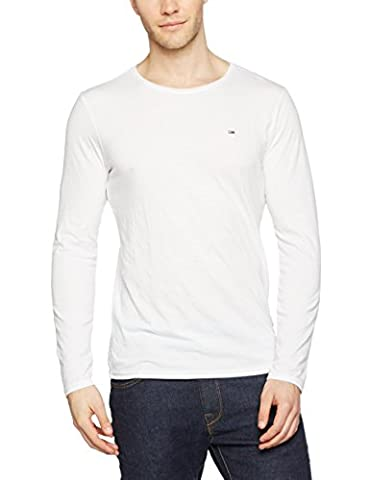 Hilfiger Denim Thdm Cn Knit L/S 39, Pull Homme, Blanc (Classic White 100), Large