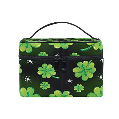 Tragbare hängende Make-up Kosmetiktasche Tasche,Use4 Painting Clover Leaf Glitter PU Leather Makeup Cosmetic Bag Travel for Women Girls -