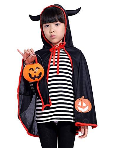 HAPPY CHERRY Kinder Halloween Kapuze Umhang Cape mit Hörner Kostüm für Halloween Fasching Karneval Cosplay Maskerade - Schwarz (Hörner Teufel Kostüm Zubehör)