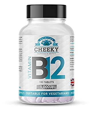 VITAMIN B12 1,000mcg tablets, 6 MONTHS SUPPLY, UK MANUFACTURED by Cheeky Nutrition from Cheeky Nutrition