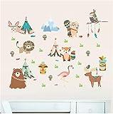 Selva salvaje feliz zoológico león oso flamenco pegatinas de pared para habitaciones de niños bebé decoración para el hogar animales de dibujos animados calcomanías diy mural