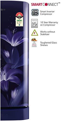 LG 215 L 5 Star Inverter Direct Cool Single Door Refrigerator (GL-D221ABGY, Blue Glow)